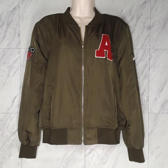 Casting LA Letterman Bomber Green Jacket Large